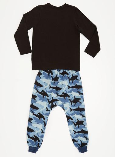 Denokids Shark Party Erkek Çocuk Pantolon Takım Mavi